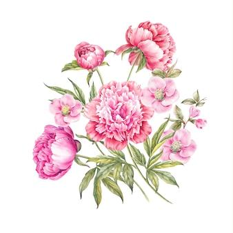 Bouquet de fleurs roses isolées