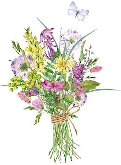 Bouquet de fleurs sauvages aquarelle. beau bouquet de fleurs avec un papillon bleu.