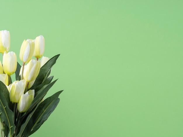 Bouquet de fleurs de tulipes sur fond vert