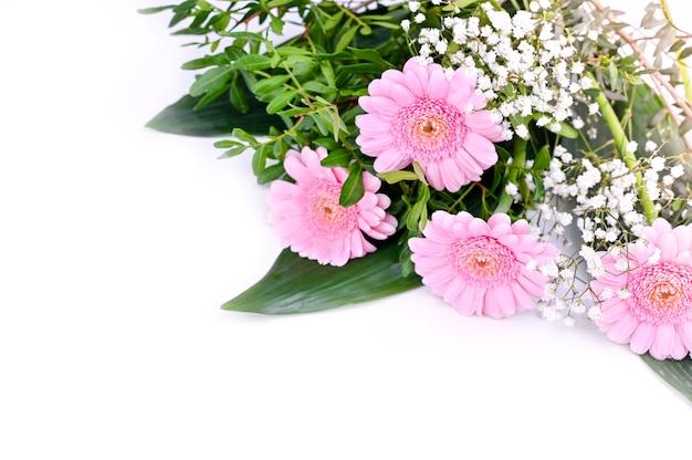 Bouquet de gerberas roses sur fond blanc. contexte pour les cartes postales et le texte. espace copie