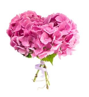 Bouquet d'hortensias en forme de coeur
