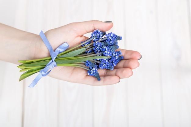 Un bouquet de jacinthes bleues avec un ruban à la main