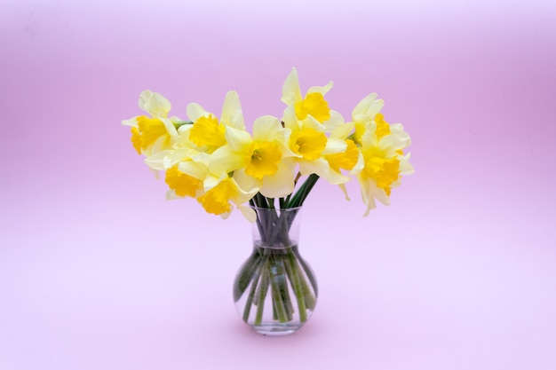 Bouquet de jonquilles dans un vase en verre