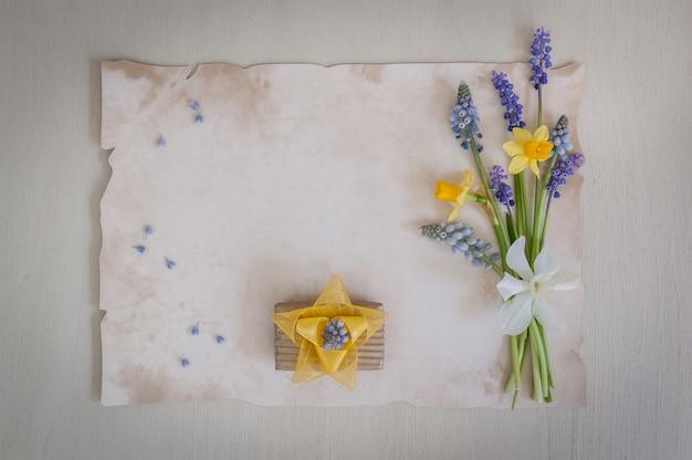 Bouquet de jonquilles et de fleurs de muscari avec boîte-cadeau. copiez l'espace, vue de dessus. carte de vœux.