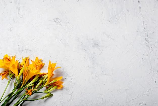 Bouquet de lis jaunes sur béton blanc