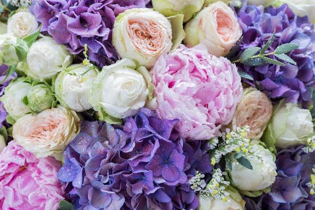 Bouquet de pivoines, de roses et d'hortensias (anniversaire, mariage, fête des mères, fiançailles)