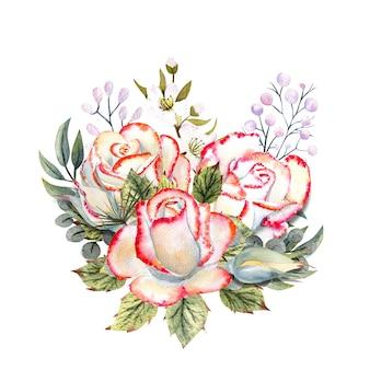 Un bouquet de roses blanches avec un bord rose, des feuilles, des baies, des brindilles décoratives. illustrations à l'aquarelle pour la conception de cartes de vœux, d'invitations, etc.