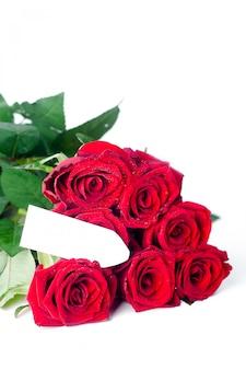 Bouquet de roses et carte