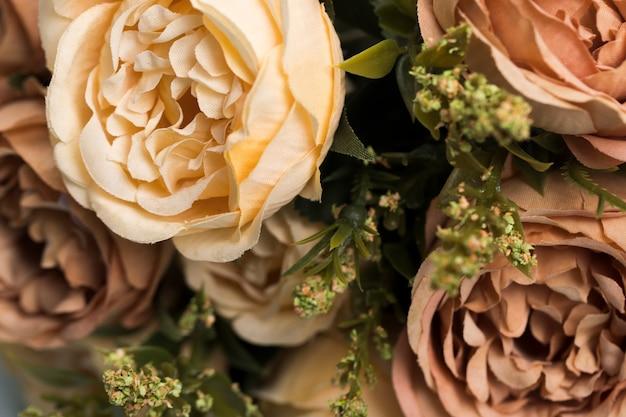 Bouquet de roses en gros plan