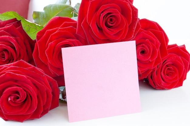 Bouquet de roses rouges et blanc vide rose isolé sur fond blanc