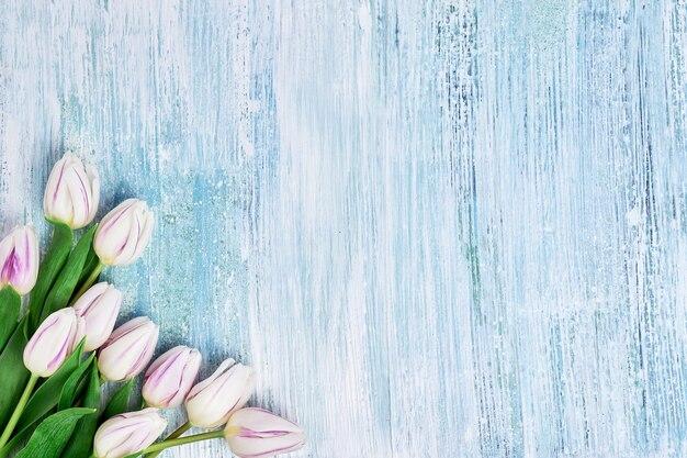 Bouquet de tulipes blanches sur bleu clair. copier l'espace anniversaire, fête des mères