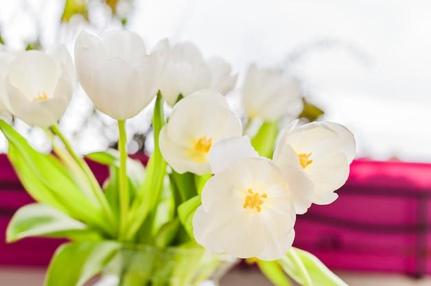 Bouquet de tulipes blanches dans un vase sur fond gris. des fleurs comme cadeau pour votre personne préférée. copy spce.