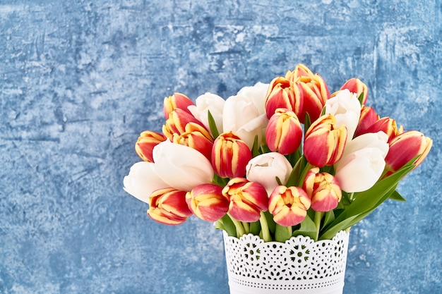 Bouquet de tulipes rouges et blanches en pot de fleurs blanches sur bleu vif.