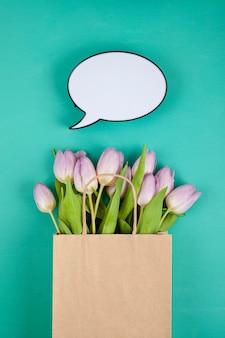 Bouquet de tulipes vue du dessus