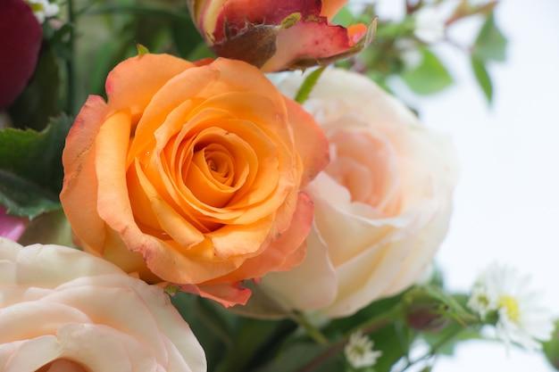 Bouquet de vase de roses, belle fleur rose en verre sur le concept de valentines