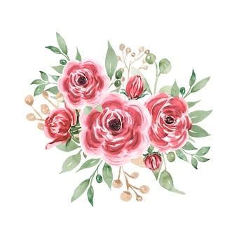 Bouquets d'été aquarelle bordeaux