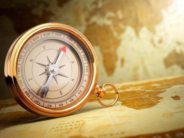 Boussole vintage sur la carte du vieux monde. notion de voyage. 3d