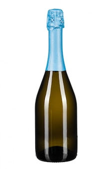 Bouteille de champagne isolé on white