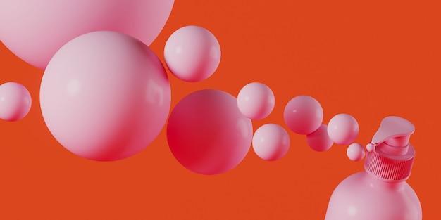 Bouteille cosmétique rose et sphère sur fond de corail