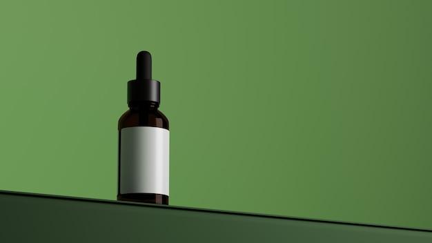 Bouteille cosmétique en verre brun naturel aux herbes biologiques avec étiquette vierge d'espace de copie de fond vert
