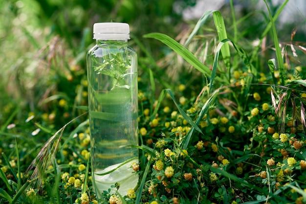 Une bouteille d'eau se dresse sur les hautes herbes vertes parmi les fleurs sauvages jaunes