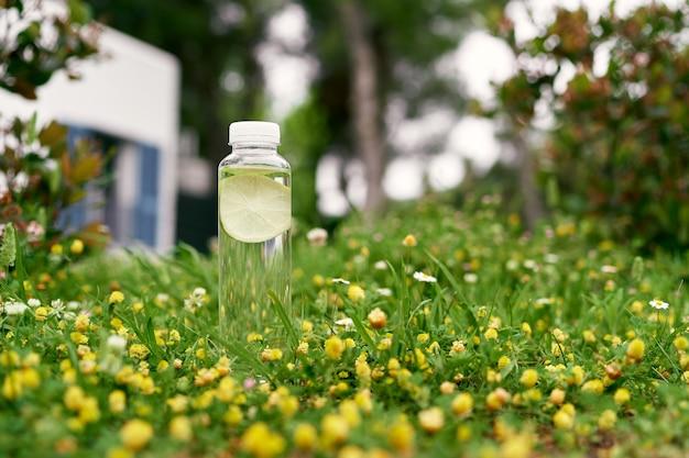 Une bouteille d'eau avec une tranche de citron à l'intérieur se dresse sur un pré vert parmi les fleurs sauvages