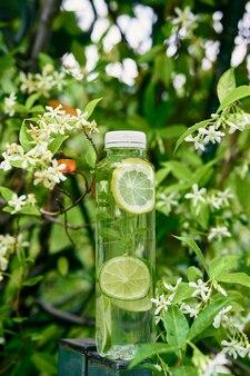 Une bouteille d'eau avec des tranches de citron et de citron vert à l'intérieur se dresse sur un poteau près d'un arbre en fleurs