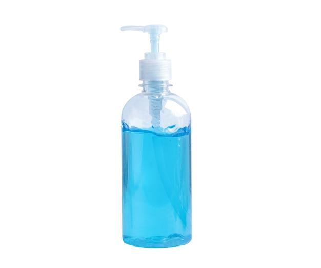 Bouteille de gel désinfectant à l'alcool bleu isolé sur fond blanc avec un tracé de détourage