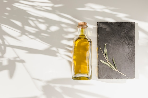Bouteille d'huile d'olive fermée et brindille sur plaque de pierre sur le fond uni