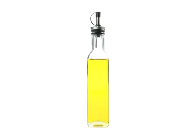 Bouteille d'huile vierge isolé sur fond blanc