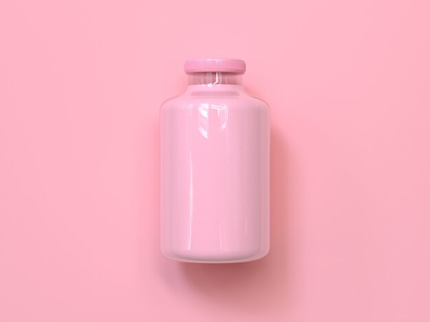 Bouteille de lait rose rendu 3d