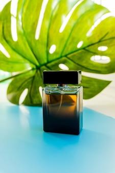 Bouteille de parfum et feuille verte.grande feuille tropicale et bouteille de parfum sur fond bleu clair.