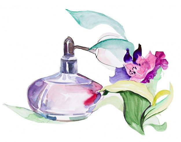 Bouteille de parfum vintage avec des fleurs