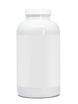 Bouteille en plastique blanche isolée