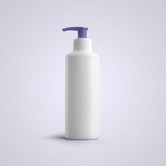 Bouteille en plastique cosmétique blanche de rendu 3d avec distributeur violet isolé sur fond gris. adapté à votre conception de maquette.