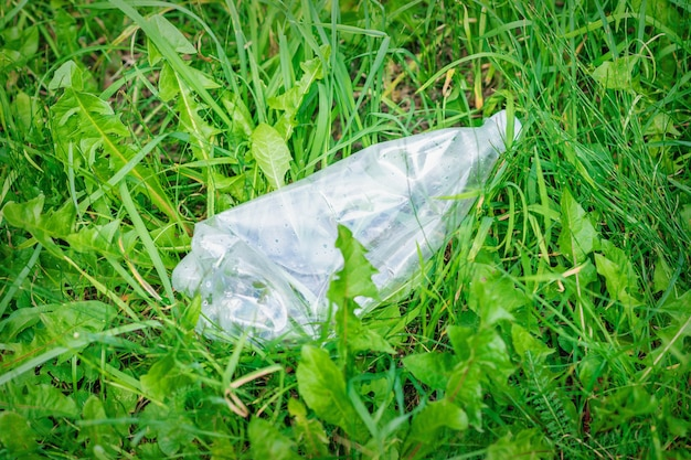 Bouteille en plastique froissée allongée dans l'herbe verte
