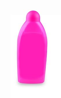 Bouteille en plastique rose avec des produits chimiques ménagers sur fond blanc.