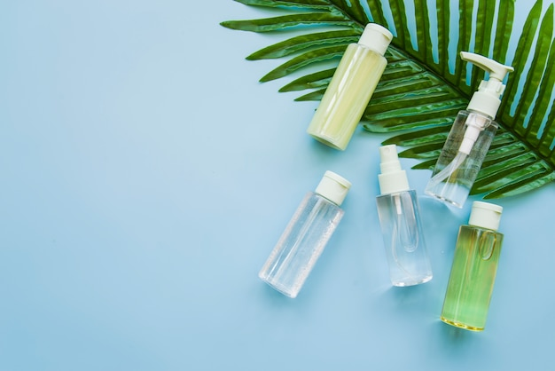 Bouteille de produit cosmétique aux herbes sur feuille verte sur fond bleu