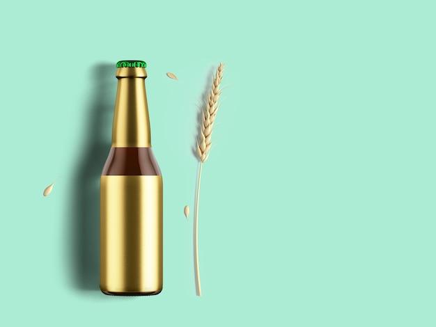 Bouteille ronde avec étiquette en feuille d'or vierge isolée. concept de fête de la bière.