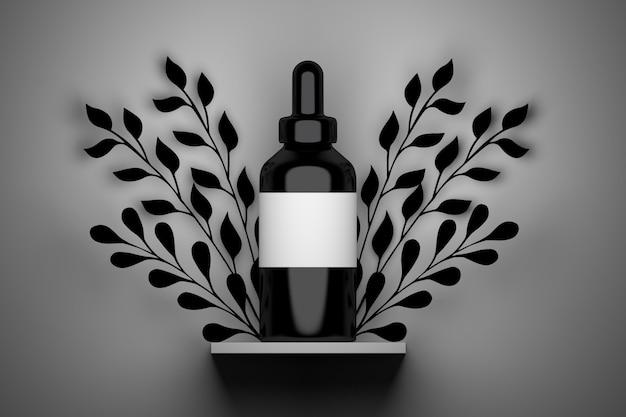 Bouteille de sérum noir avec étiquette vide blanche et feuillage noir