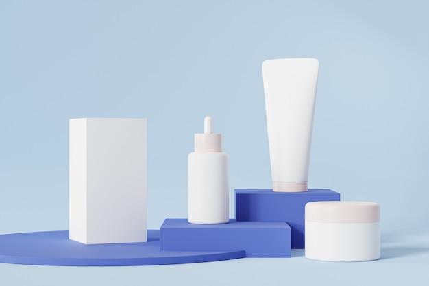 Bouteille, tube, pot et boîte d'emballage pour produits cosmétiques sur surface bleue