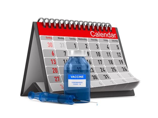 Bouteille de vaccin et seringue et calendrier sur blanc. illustration 3d isolée