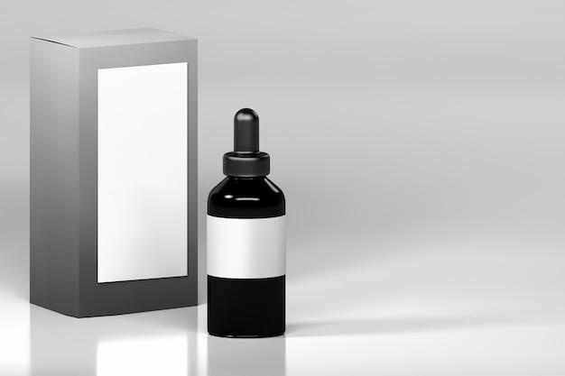 Bouteille de vape noir avec étiquette vierge blanche et boîte d'emballage.
