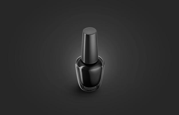Bouteille de vernis à ongles noir vierge maquette, obscurité isolée