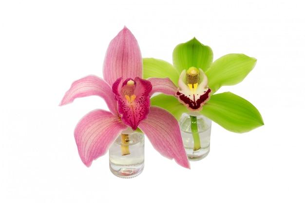 Bouteille en verre d'orchidée isolée