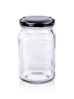 Bouteille en verre transparent d'emballage vide avec bouchon en acier inoxydable noir isolé sur fond blanc