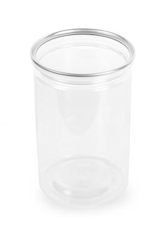 Bouteille en verre vide sur blanc