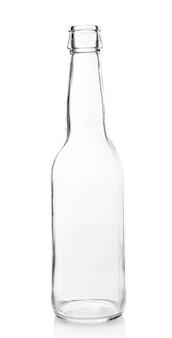 Bouteille en verre vide isolé sur blanc