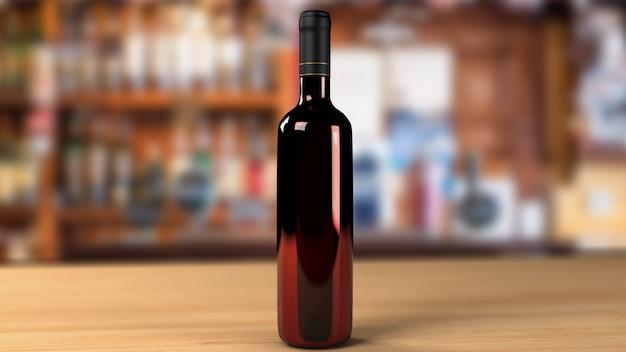 Bouteille de vin avec arrière-plan flou