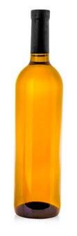 Bouteille de vin blanc sur fond blanc isolé. chemin de détourage